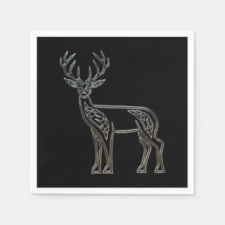 Silver And Black Deer Celtic Style Knot Disposable Napkins