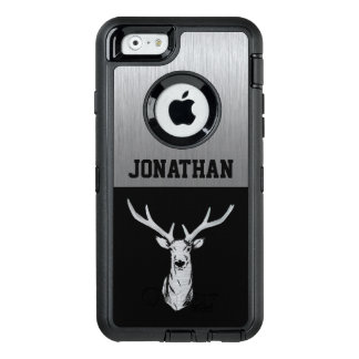 Silver and Black Deer Hunting Monogram Case