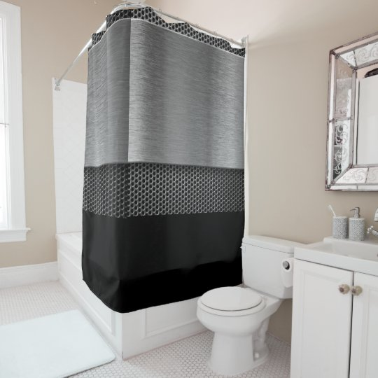 Silver and Black Design - Shower Curtain