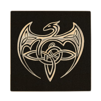 Silver And Black Dragon Trine Celtic Knots Art Maple Wood Coaster