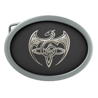 Silver And Black Dragon Trine Celtic Knots Art Oval Belt Buckle
