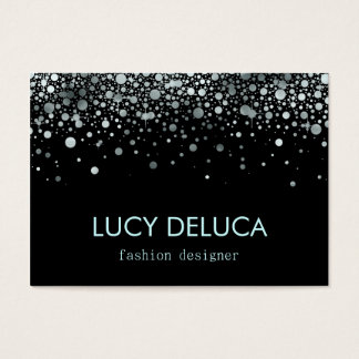 Silver and Black Fake Foil Glitter Business Card