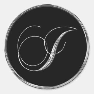 Silver And Black Formal Wedding Monogram I Seal Round Sticker