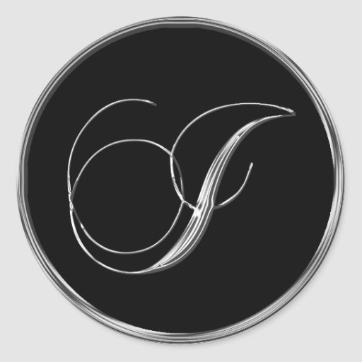 Silver And Black Formal Wedding Monogram I Seal Stickers