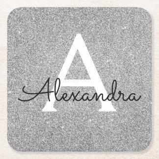 Silver and Black Glitter & Sparkle Monogram Square Paper Coaster
