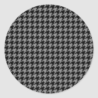 Silver and Black Houndstooth Classic Round Sticker