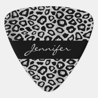 Silver And Black Leopard Pattern Guitar Pick