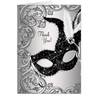 Silver and Black Masquerade Party Thank You Cards