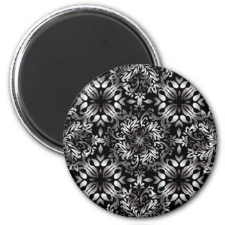 Silver and black modern floral magnet