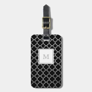 Silver and Black quatrefoil Luggage Tag