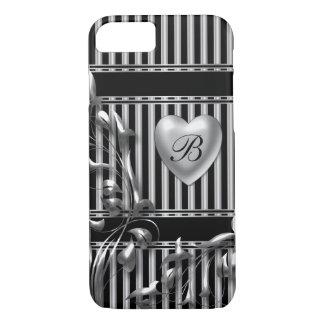 Silver and Black Stripe Metallic Look iPhone 7 Case