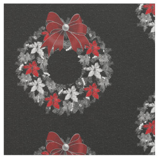 Silver and Black Themed Holiday Wreath Fabric