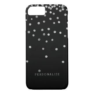 Silver and Black Watercolor Confetti Dots iPhone 7 Case