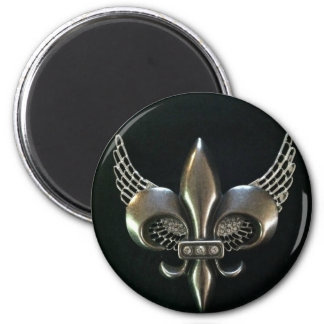 SILVER AND BLACK WINGED FLEUR-DE-LIS 2 INCH ROUND MAGNET