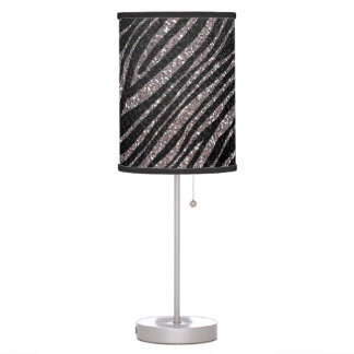 Silver and Black Zebra stripe pattern Table Lamp