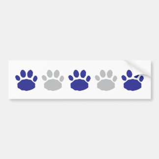 Silver and Blue Animal Paw Prints Bumper Sticker