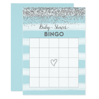 Silver and Blue Baby Shower Bingo Card