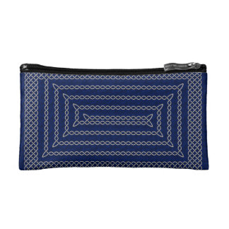 Silver And Blue Celtic Rectangular Spiral Cosmetic Bag