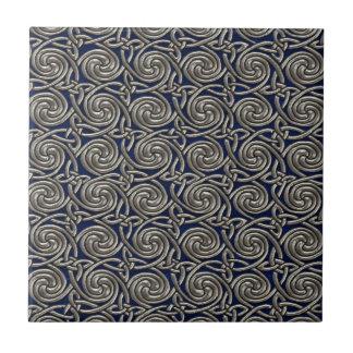 Silver And Blue Celtic Spiral Knots Pattern Ceramic Tile