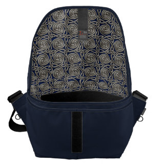 Silver And Blue Celtic Spiral Knots Pattern Courier Bags