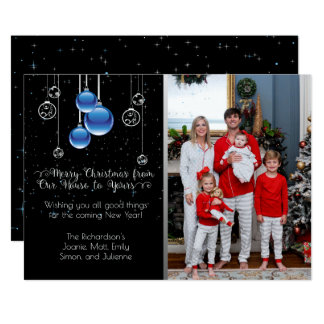 Silver and Blue Christmas Ornaments Sparkle Photo Card