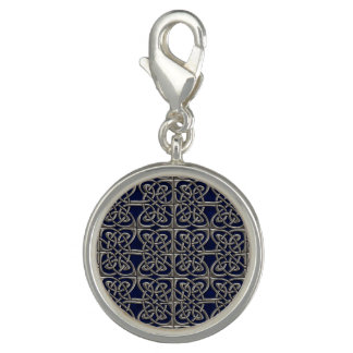 Silver And Blue Connected Ovals Celtic Pattern Charm