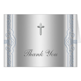Silver and Blue Cross Thank You Cards