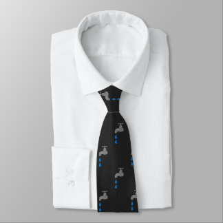 Silver and Blue Dripping Faucet Tap Plumbers Tie
