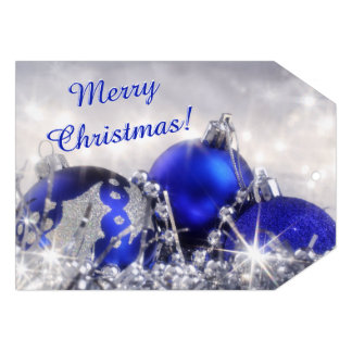 """Silver And Blue Merry Christmas Gift Tag Card 5"""" X 7"""" Invitation Card"""