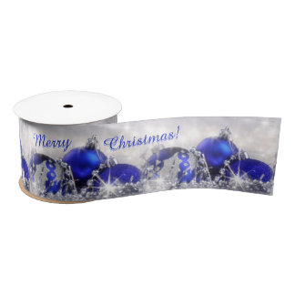 Silver And Blue Merry Christmas Satin Ribbon