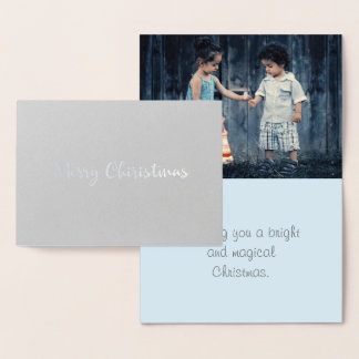 Silver And Blue Modern Christmas Family Photo Foil Card