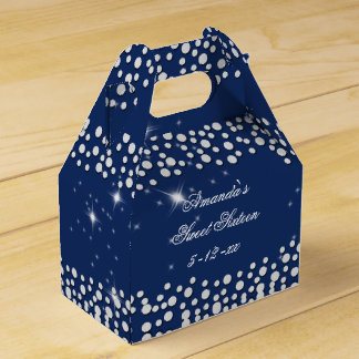 Silver and Blue Sparkle, Sweet Sixteen, Custom Favor Box