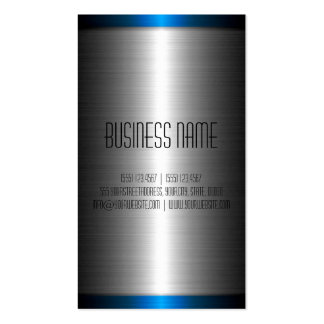 Silver and Blue Stainless Steel Metal Pack Of Standard Business Cards