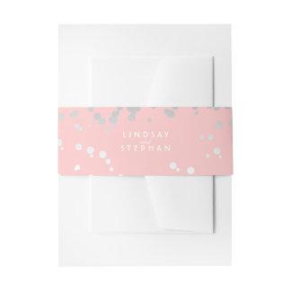 Silver and Blush Pink Elegant Confetti Wedding Invitation Belly Band