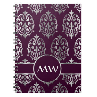 Silver and burgundy damask monogram notebooks