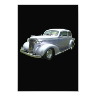 """Silver and Chrome 1940 antique classic auto 3.5"""" X 5"""" Invitation Card"""
