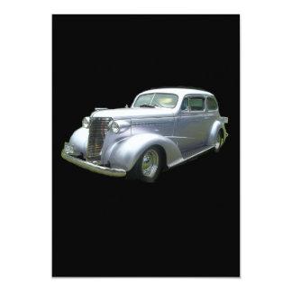 """Silver and Chrome 1940 antique classic auto 5"""" X 7"""" Invitation Card"""