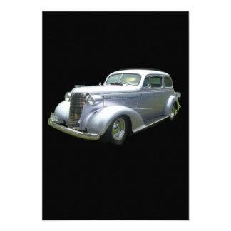 Silver and Chrome 1940 antique classic auto Custom Announcement