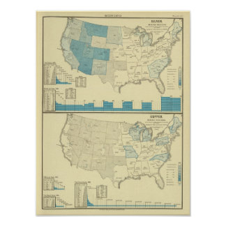 Silver and copper mining regions poster