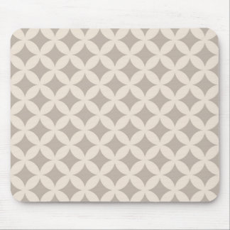 Silver and Cream Geocircle Design Mouse Pad