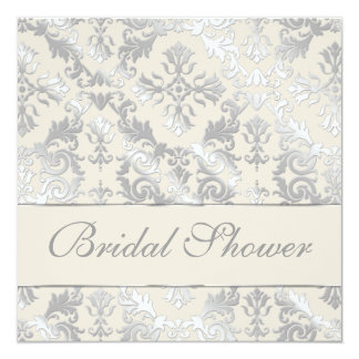 "Silver and Creme Elegant Damask Bridal Shower 5.25"" Square Invitation Card"