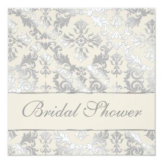 "Silver and Creme Elegant Damask Bridal Shower 5.25"" Square Invitation Card"