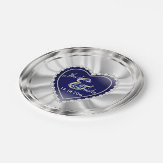 Silver and Dark Blue Wedding or Anniversary 7 Inch Paper Plate