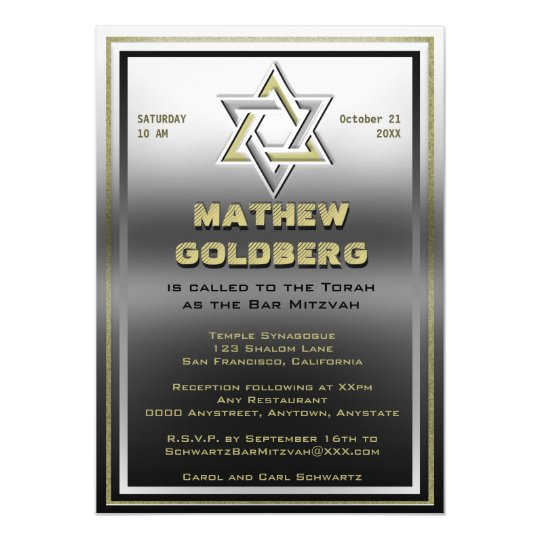 Silver and Gold Barmitzvah Card