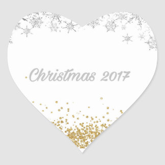 Silver and gold Christmas 2017 heart sticker
