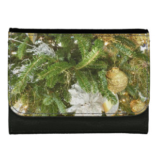 Silver and Gold Christmas Tree I Holiday Leather Wallet