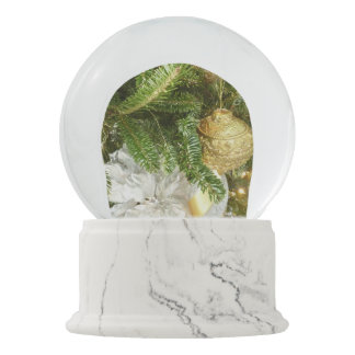 Silver and Gold Christmas Tree I Holiday Snow Globe