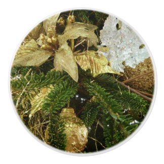 Silver and Gold Christmas Tree II Holiday Ceramic Knob