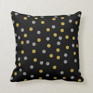 Silver and Gold Circles on Black Throw Pillow
