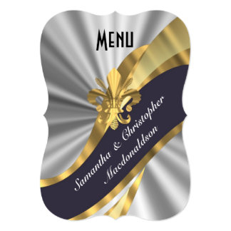 """Silver and gold elegant formal wedding menu 5"""" x 7"""" invitation card"""